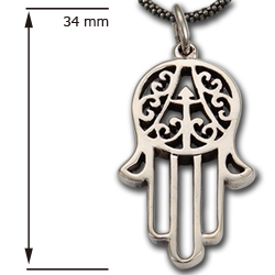 Hand of Fatima Pendant in Sterling Silver