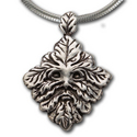 Green Man Pendant in Sterling Silver