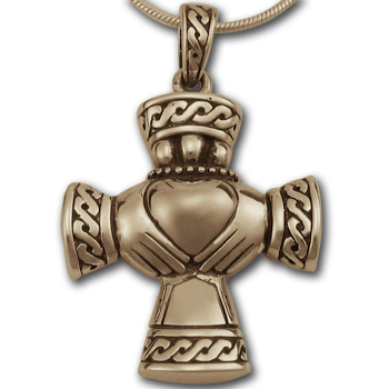 Claddagh Cross in 14k Yellow Gold