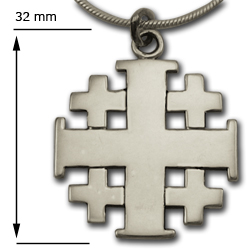 Jerusalem Cross Pendant in Sterling Silver