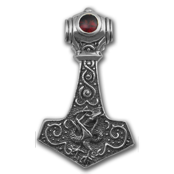 Thor's Hammer Dragon Pendant in Sterling Silver