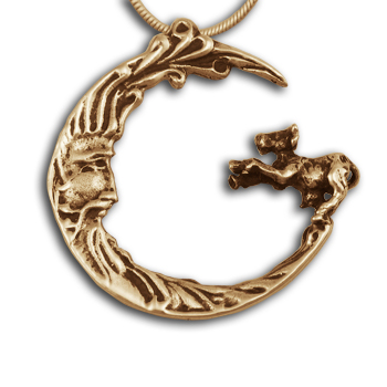 Cow jumping the Moon Pendant in 14k Gold