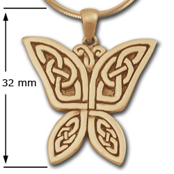 Celtic Butterfly Pendant in 14K Gold