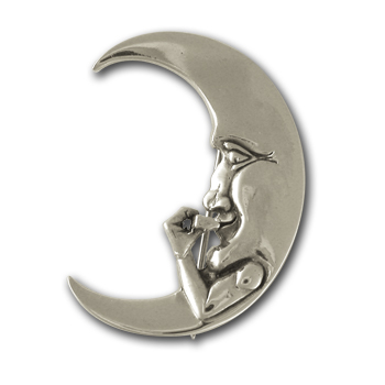 Harmonica Moon Pin in Sterling Silver