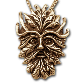 Green Man Pendant in 14k Gold