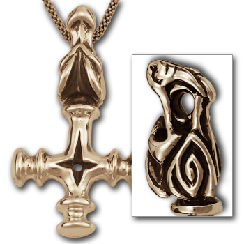 Thors Hammer w/ Dragon Head in 14k