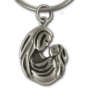 Mother & Child Pendant in Sterling Silver