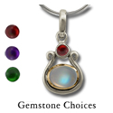 Gemstone Pendant in Silver & Gold
