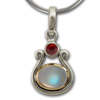 Gemstone Pendant in White & Yellow Gold