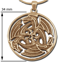 Dragon Pendant Celtic Triskele in 14k Gold