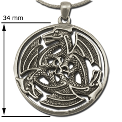 Dragon Pendant Celtic  Triskele in Sterling Silver