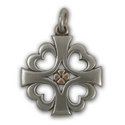 Knights Templar Cross Pendant in Silver & Gold