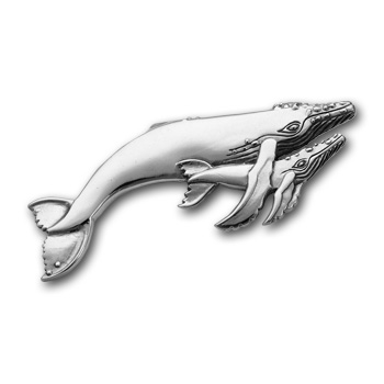 Mother & Calf Grey Whale Pin in Sterling Silver