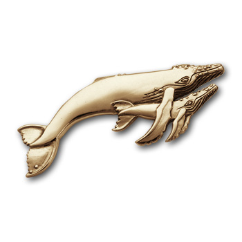 Mother & Calf Grey Whale Pin in 14k Gold