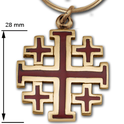 Crusader Cross Pendant in 14K w/ Enamel