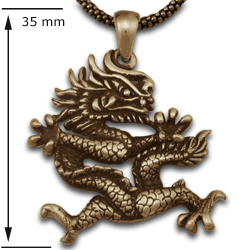 Chinese Dragon Pendant in 14k Gold