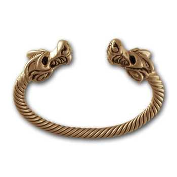 Dragon Torque Bracelet in 14K Gold