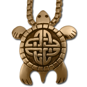 Celtic Turtle Pendant in 14k Gold