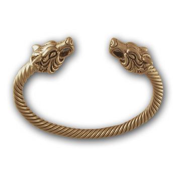 Wolf Torque Bracelet in 14k Gold MoonstoneJewelrycom