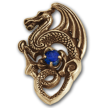 Gothic Dragon Pendant in 14k Gold