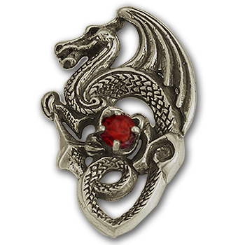 Gothic Dragon Pendant in Sterling Silver
