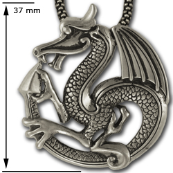 Bold Dragon Pendant in Sterling Silver