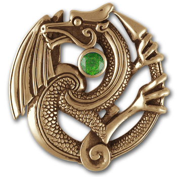 Fierce Dragon Pendant in 14k Gold