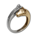 Silver and 14k Gold Horse Ring