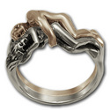 Tantric Lovers' Ring in Silver & Gold