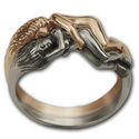 Lesbian Lovers Ring in Silver & Gold