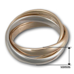 Russian Wedding Band in Tri Gold