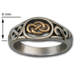 Celtic Knot Ring (Sm) in Silver & Gold