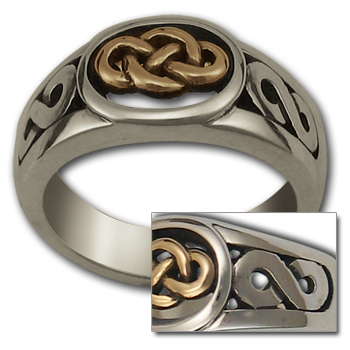 Celtic Knot Ring (Lg) in Silver & Gold