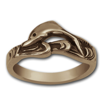 Surfing Dolphin Ring in 14k Gold