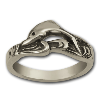 Surfing Dolphin Ring in Sterling Silver