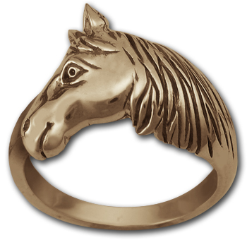 Horse in Profile Ring in 14k Gold