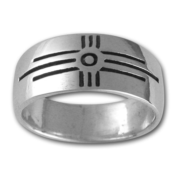 Zia Sun Symbol Ring in Sterling Silver