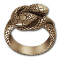Small Double Headed Snake Ring in 14k Gold
