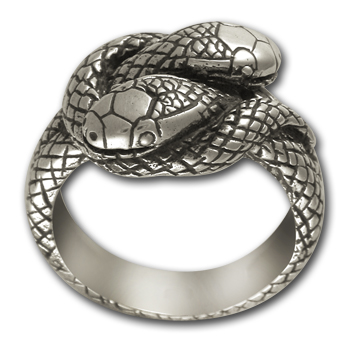 Small Double Headed Snake Ring in Sterling Silver