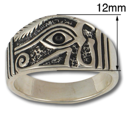 Eye of Horus Ring (Lg) in Sterling Silver