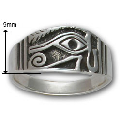 Eye of Horus Ring (Sm) in Sterling Silver