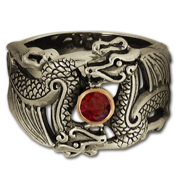 Men's Dragon Ring in Sterling Silver w/ 14k Bezel