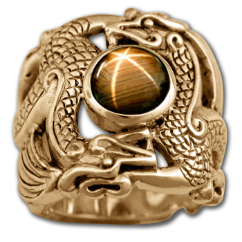 Huge Men's Dragon Ring in 14K Gold
