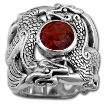 Huge Men's Dragon Ring in Sterling Silver