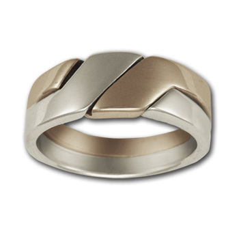 Puzzle Ring (sm) in 14k White & Yellow Gold