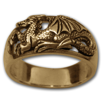 """Profile"" Dragon Ring in 14k Gold"