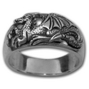 """Profile"" Dragon Ring in Sterling Silver"