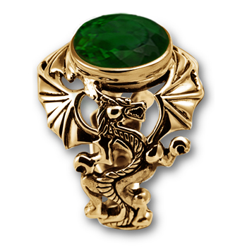 Gothic Dragon Ring in  14K Gold