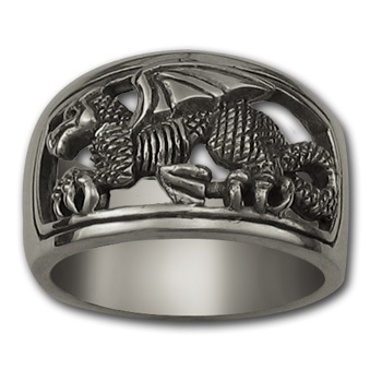 Welsh Dragon Ring (Lg) in Sterling Silver
