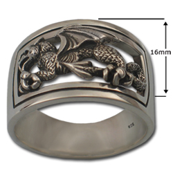 Welsh Dragon Ring in Sterling Silver